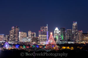 360 condo, Austin, Austonian, Christmas, Frost, Zilker Christmas tree, city, cityscape, cityscapes, downtown, festive, holiday, skyline, skylines, trail of lights, austin skylines, austin cityscapes