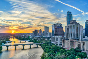 Austin, over austin, Austonian, Congress bridge, First Street Bridge, Four Seasons hotel, Lamar bridge, Radison hotel along the shoreline, aerial, cityscape, downtown, skyline, skylines, sunset