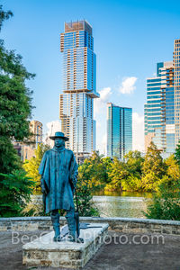 austin, skyline, Independent, Jingle, Stevie Ray Vaughan, statue, bronze, cityscape, downtown, city, vertical, lady bird lake, town lake, downtown, hike and bike trail,