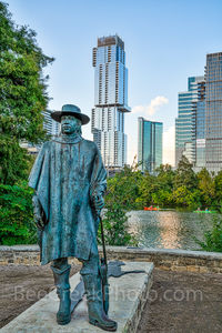 Austin, skyline, Stevie Ray Vaughan statue, bronze, Independent, Jingle, high rise, skyscraper, austin skyline pictures, Lady Bird Lake, Butler hike and bike trail, blues, guitar, rock and roll hall o