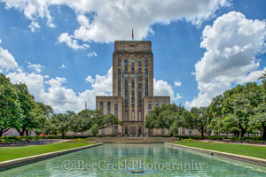 City Hall, George H. Hermann, Hermann Square, Houston, downtown, fountain, government, landscaped, park, reflection pool, water