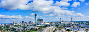 Alamo Dome, Hemisphere, San Antonio, Tower of Americas, aerial, cityscape, cityscapes, downtown, high-rise, hotels, panorama, skylines, drone,