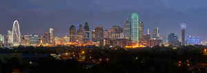 Dallas, Hyatt, bank of america, cities, city, cityscape, cityscapes, downtown, dusk, margarat hunt hill bridge, omini hotel, pano, reunion tower, skyline, skylines, skyscrapers, urban