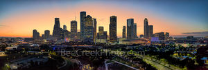 Houston skyline, Sunrise, glow, pano, panorama, Buffalo Bayou, skylines, Houston cityscape, cityscapes, downtown, reflections, pinks, oranges, sky, morning, city views, city, cities, high rise, Housto