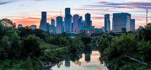 Houston, skyline, skylines, pano, panorama, cityscape, cityscapes, buildings, high rise, bayou, buffalo bayou, water, reflections, sunrise, colors, pinks, oranges, skies,