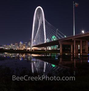 Margaret Hunt Hill Bridge, Night, Dallas skyline, reflection, photo, bridge, water, trinity river, image of dallas, pictures of dallas, image of dallas skyline, image of Margaret Hunt Hill bridge, dal