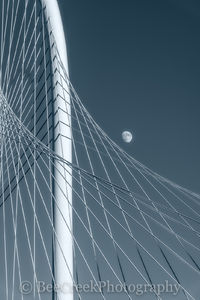 Bridge, Dallas, Margaret Hunt Hill bridge, arch, black and white, city, cyan, dusk, moon