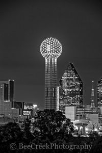 Dallas, Fountain Place, Hyatt Regency, black and white, bw, cityscape, cityscapes, reunion tower