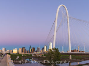 Bridge, Dallas, skyline, Margaret Hunt Hill, Trinity river, blue, blue hour, city, cityscape, cityscapes, downtown, moon, pinks, purple, skycrapers, skylines,