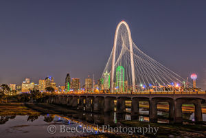 Dallas Skyline Bridge Twilight