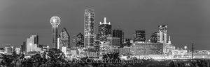 Dallas Skyline Night Pano BW