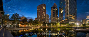 Discovery Green, Houston, city, cityscape, cityscapes, downtown, dusk, high rise, night, pano, panorama, reflections, skyline, skylines