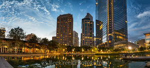 Discovery Green, Houston, skyline, cityscape, cityscapes, downtown, dusk, high rise, night, pano, panorama, reflections, skylines