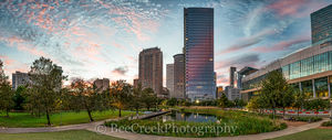 Discovery Green, Houston, cityscape, clouds, color, colors, downtown, high rise, high rises, lake, landscape, pano, panorama, park, pink, reflective, sky, skyline, skyscrapers, sunset