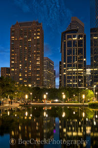 Discovery Green, Houston, city, cityscape, cityscapes, downtown, dusk, high rise, night, reflections, skyline, skylines, water