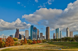 Houston, architecture, bayou, city, city scene, cityscape, cityscapes, downtown, fall, high rises, houston texas, orange, red, skyline, skylines, skyscapes, theater district, trees, urban scene