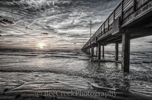 Sunrise, beach, black and white, clouds, coast, coastal, fishing pier, gulf, sand, surf, texas, texature, wooden