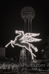 Flying Pegasus and Reunion Tower Night B W