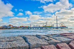 Fun Pier, Galveston, Pleasure Pier, amusement park, beach, breakers, city, coast, family entertainment, granite, island, night, party, seascape, tourist, water