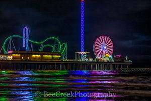 Ferris wheel, Galveston, Pleasure Pier, amusement park, colors, coastal, pier, beach, food, fun. family fun, night, over the water, pier, reflecting, rides, roller coaster, surf, tourist