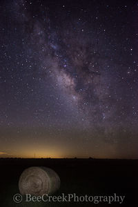 Haybales, gallaxy, milkyway, night sky, rural,stars, dark,