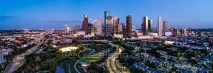 Houston, Skyline, Aerial, pano, panorama, buffalo bayou, Eleanor Tinsley Park, Memorial Park, Allen Parkway, downtown, hike and bike, Jamail Skate Park, cityscape, southern US,