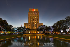 Houston city hall, downtown houston, houston texas, City Hall, Houston, building, city government, city, cityscape, downtown, foutain, night, dark, reflections, water,