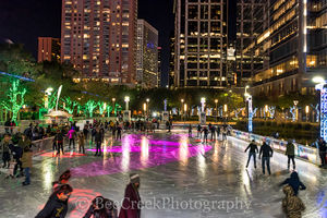 Discovery Green park, Houston, city, cityscape, cityscapes, downtown, festive, holiday, ice skating, lifestyles, people, season, urban, winter
