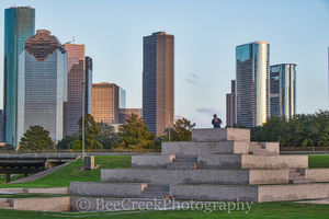 Houston skyline, architecture, city, city scene, cityscape, cityscapes, downtown, high rises, houston texas, police memorial, skyline, skyscrapers, urban scene
