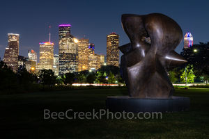 Houston, skyline, Cityscape, dark, Night, Henry Moore, sculpture, Eleanor Tinsley Park, art, Buffalo Bayou, downtown, Allen Parkway,