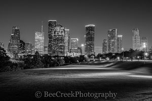Houston, black and white, buffalo bayou, cities, city, cityscape, cityscapes, downtown, high rise, night, park, skyline, skylines, skyscrapers, street scene, tall buildings