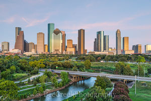 Houston, buildings, city, cityscape, color, downtown, dusk, high-rise, park, pink, sky, skyline, skyscrapers, sunset