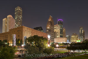 Houston skyline, architecture, bayou, city, city scene, cityscape, cityscapes, downtown, high rises, houston texas, night, night skyline, skyline, theater district, urban scene
