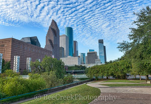 Houston, Sesquicentennial park, art, blue sky, city, cityscape, cityscapes, clouds, downtown, park, skyline, skylines, theater district, trees, urban