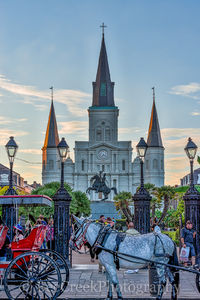 Jackson Square. horse, New Orleans, carriages, city, cityscape, cityscapes, downtown, historic, landmark, urban, New Orleans cityscapes,