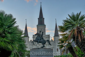 Jackson Square Statue , Jackson Square, New Orleans, Saint Lousi Cathedral, cityscape, cityscapes, downtown, dusk, statue, New Orleans cityscapes, french quarters,