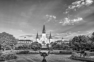 Cathedral, Jackson Square, New Orleans, Saint Louis, black and white, blue sky, bw, cityscape, cityscapes, historic, landmark, landscape, landscapes, morning, New Orleans cityscapes,