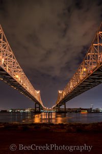 New Orleans, cityscape, cityscapes, double bridges, lights, mississippi, night, reflections, river bridges, urban, verticle, water, New Orleans cityscapes,