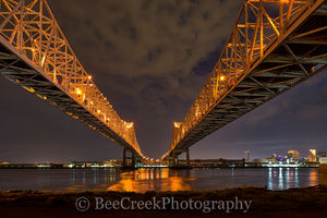 New Orleans, cityscape, cityscapes, dark, double bridges, lights, mississippi, night, reflections, river bridges, urban, water, New Orleans cityscapes,