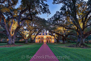 Lousiana, National Historic Landmark, Oak Alley, architect, archtiectural, big house, branches, dusk, glow, golden, greek rivival, landscape, landscapes, lights, mansion, mississippi, night, oak trees