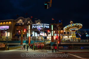 Fun Pier, Galveston, Pleasure Pier, amusement park, beach, city, coast, family entertainment, island, night, party, seascape, tourist, water