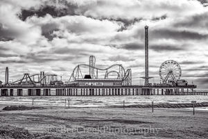 Galveston, amusement park, beach, beach Pleasure Pier, cityscape, festive atmosphere, rides, sand, sea wall, surf