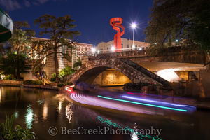 Riverwalk, Light Trails, SA, San Antonio, Torch of Friendship, city, cityscape, downtown, images, landscape, night, river boats, urban, river walk,