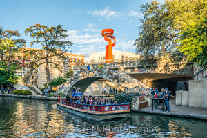 San Antonio River Walking Bridge , River walk, San Antonio, Torch of Friendship, city, cityscape, cityscapes, clouds, colorful, colorful umbrellas, downtown, river boats, tourist, water, riverwalk,