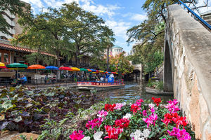 Cafe Rio, River Walk, San Antonio, city, cityscape, colorful, downtown, flowers, unmbrellas