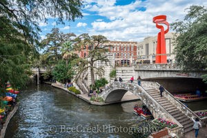 Riverwalk, San Antonio, Torch of Friendship, city, cityscape, cityscapes, clouds, colorful, colorful umbrellas, downtown, river boats, tourist, water