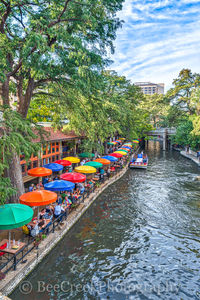 San Antonio Riverwalk Tall ,Casa Rio, River Boat, River Walk, San Antonio, boat rides, city, cityscape, cityscapes, colorful, colorful umbrellas, day, destination, downtown, hotels, outside dinning, r