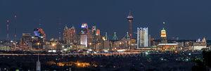 San Antonio Skyline, Night, Dark, black and white, bw,  night, San Antonio, Skyline, Frost Tower, Tower of America, Life Tower, Marriott, BBVA Compass Bank,