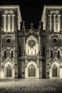 San Antonio, San Fernado Catherdral, black and white, church, city, downtown, main plaza, texas, tourist, travel destination