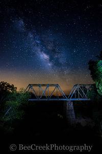 Fine Art photo, Night Stars over railroad bridge, astronomy photography, celestial, dark skies, galaxy, galaxy over bridge, landscape, light pollution, milkway over texas railroad bridge, milky way, n